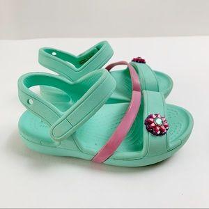 Crocs Sea Foam Girls' Strappy Pink Floral Sandals